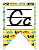 Superhero D'Nealian manuscript Alphabet banner