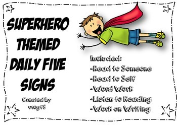 Superhero Daily Five Signs