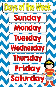 Superhero Days of the Week 11 x 17