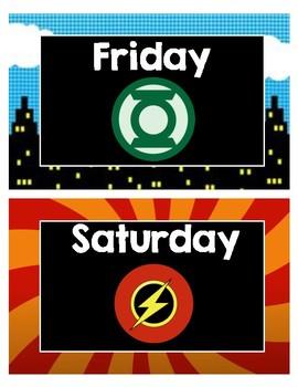 Superhero Days of the Week