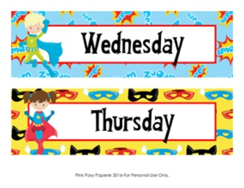 Superhero Days of the Week Calendar Headers