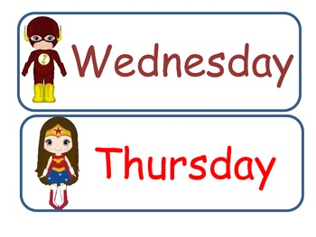 Superhero Days of the Week Cards