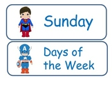 Superhero Days of the Week Cards