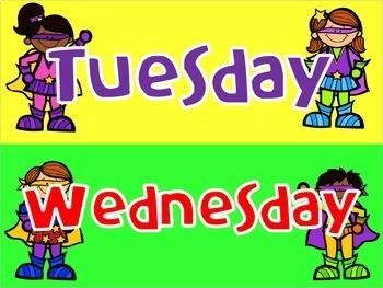 Days of the Week Bright Superhero Theme