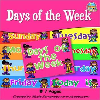 Days of the Week {Bright Superhero Themed}