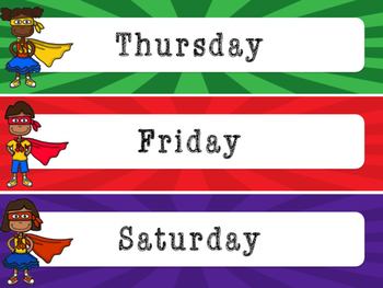 Superhero Decor: Months of the Year and Days of the Week Labels