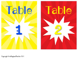 Superhero Decor: Table and Group Number Labels