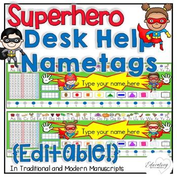 Superhero Desk Help Nametags
