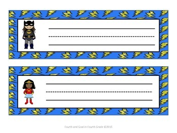 Superhero Desk Name Tags
