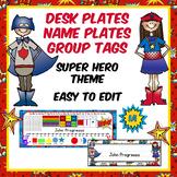 Easily EDITABLE Superhero Desk Plates, Name Plates. Group Organizer Tags
