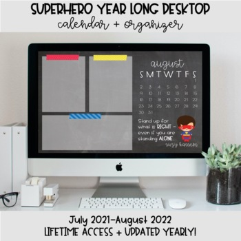 Superhero Desktop Organization Wallpaper + Calendar
