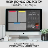 Superhero Desktop Organization Wallpaper + Calendar