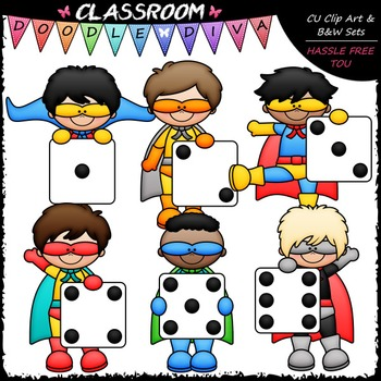 Superhero Dice Boys Clip Art - Math Clip Art & B&W Set