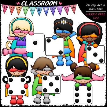 Superhero Dice Girls Clip Art - Math Clip Art & B&W Set