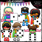 Superhero Dice Girls Clip Art - Math Clip Art & B&W Set