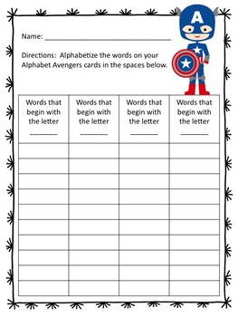 Alphabet Avengers ABC Order Task Cards (Differentiated)