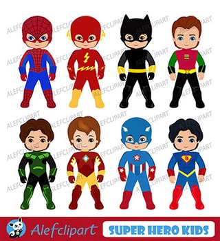 Superhero Digital Clipart, Superhero Clipart,