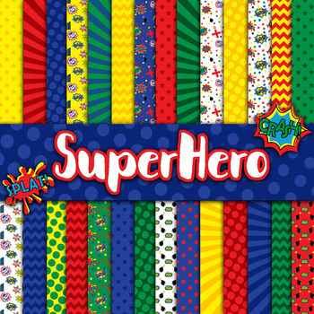 Superhero Digital Paper Pack - 28 Different Papers - 12inx12in