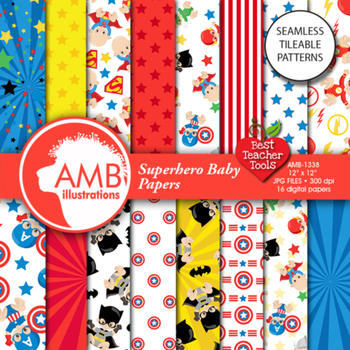 Superhero Digital Papers, Superhero Baby Digital backgrounds, AMB-1338