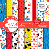 Superhero Digital Papers, Superhero Baby Digital backgroun