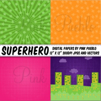 Superhero Digital Scrapbook Paper or Backgrounds - Commercial and Personal
