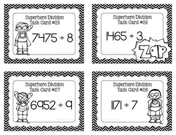 Division Task Cards - Superhero
