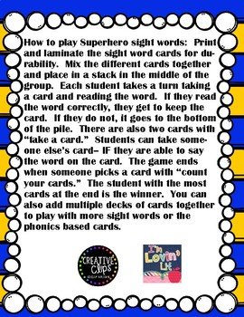 Superhero Dolch Primer Sight Word Game