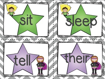 Superhero Dolch Word Wall Packet and Assessments {Editable}