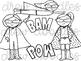 Superhero Doodles Digital Clip Art Set- Black Line Version