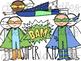 Superhero Doodles Digital Clip Art Set- Color and Black Line COMBO