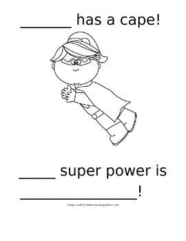 Superhero Draw and Write Printable Activity