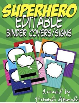Superhero EDITABLE Binder Covers/Signs