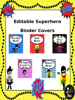 Superhero EDITABLE Binder Covers