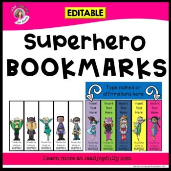 Superhero EDITABLE Bookmarks