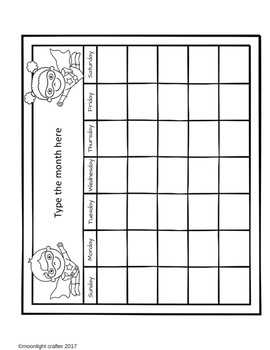Superhero EDITABLE Calendar Templates