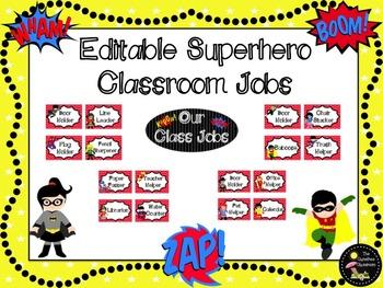 Classroom Jobs: Superhero EDITABLE