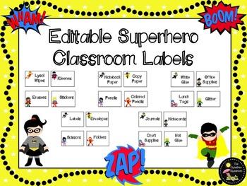 Classroom Labels: Superhero EDITABLE