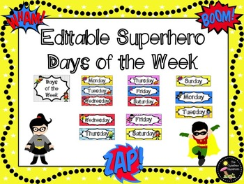 Days of the Week Signs: Superhero EDITABLE