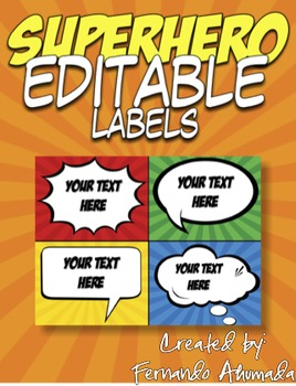 Superhero EDITABLE Labels