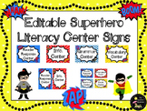 Literacy Center Signs: Superhero EDITABLE