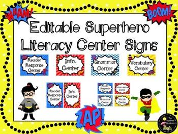 Superhero EDITABLE Literacy Center Signs