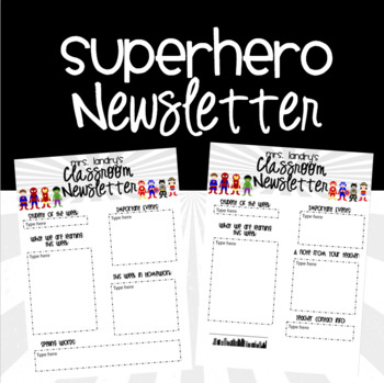Superhero {EDITABLE} Newsletter