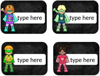 Superhero EDITABLE name tags/centers name tags