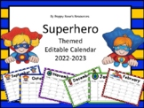 Superhero Editable Calendar Updated for 2018-2019