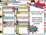 Superhero Editable Calendars 2018-2019