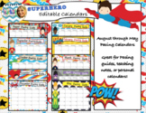 Superhero Editable Calendars 2018-2019