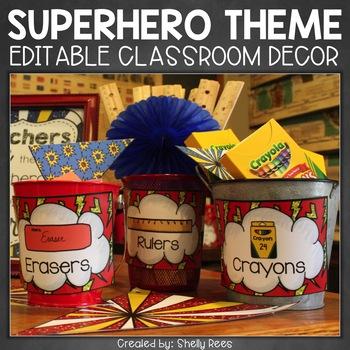 Classroom Decor - Superhero Theme Classroom - Editable!