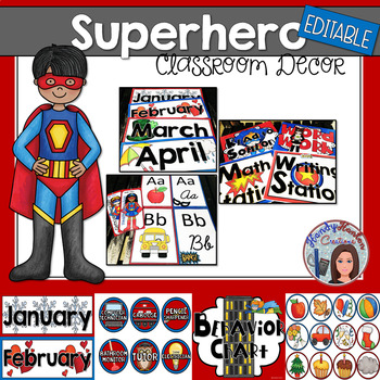 Back to School Superhero Editable Classroom Decor Theme