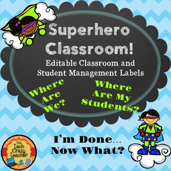 Superhero Editable Classroom and Student Management Labels- Blue