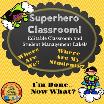 Superhero Editable Classroom and Student Management Labels- Yellow